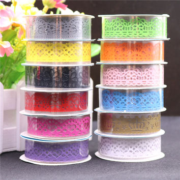 1pcs Candy Colors Lace Tape Decoration Roll DIY Washi Decorative Sticky Paper Masking Tape Self Adhesive Tape Scrapbook Tape