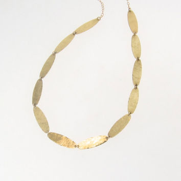 18k Gold Necklace, Artisan, Handcrafted, Hammered Oval Discs by Theresa Mink www.classicdesigns.etsy.com