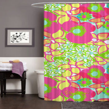 "Lilly Pulitzer Pink Rose Exclusive Design High Quality Shower Curtain 60"" x 72"""