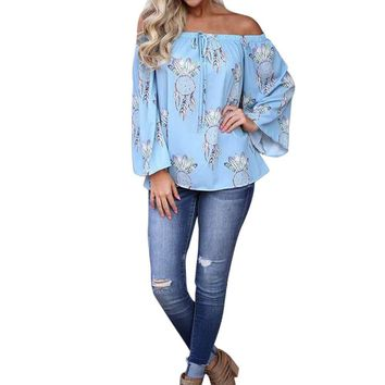 Women Off Shoulder Long Sleeve Shirt