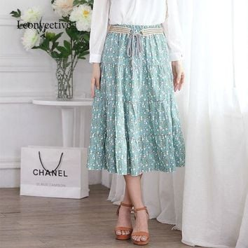 CREYONFI Leonyeetive 2017 Spring Summer Casual Floral Fashion Long Skirts Womens Cotton Linen Embroidery Girl Brand Style Skirt