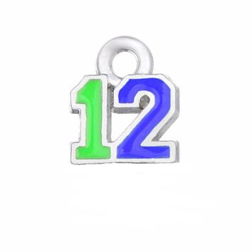 Football Enamel Pendant Seahawks Proud And Loud 12 Charms The Forever 12 Pendant Charms For DIY Necklace & Bracelet & Earring