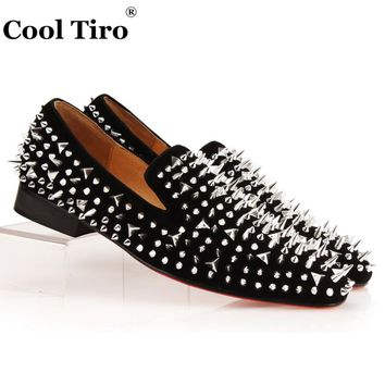 COOL TIRO Silver Spikes Loafers Men Smoking Slipper