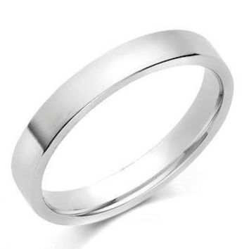 14K White Gold 3mm Polished Flat Comfort Feel Plain Wedding Band