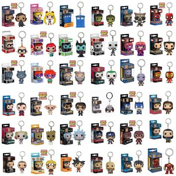 FUNKO POP New Pocket Pop Keychain Official Super Hero Anime Characters Action Figure Collectible Model Toys For Gifts With Box
