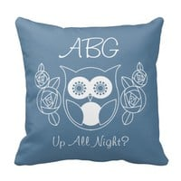 Up All Night? Cute Retro Owl and Roses Monogram Pillow