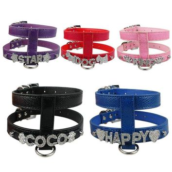 New Stlye Personalized Snakeskin Leather Dog Harness Free Name with Rhinestone Letters