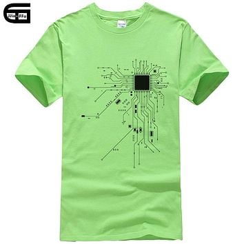 Computer CPU Core Heart T-Shirt Men's GEEK Nerd Freak Hacker PC Gamer Tee Summer Short Sleeve Cotton T Shirt Euro Size T309