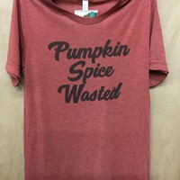 """Gina """"Pumpkin Spice Wasted"""" Rust Crew Neck Tee"""
