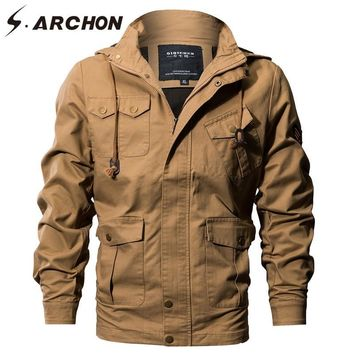 Trendy S.ARCHON US Air Force Tactical Hooded Pilot Jackets Men Winter Warm Cotton Military Bomber Jacket Cargo Outerwear Flight Clothes AT_94_13