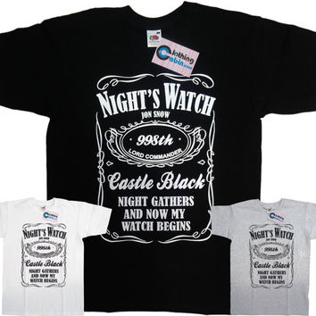 Game of Thrones Nights Watch Jon Snow  T Shirt Available in Black, Grey and White
