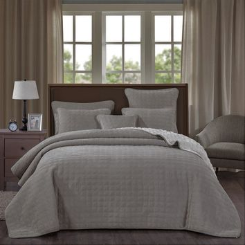 DaDa Bedding Corduroy Sherpa Backside Soft Grey Square Pattern Quilted Bedspread Set (JHW858)