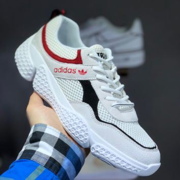 hcxx A1478 Adidas Boost Breathable Mesh Running Shoes White Black Red