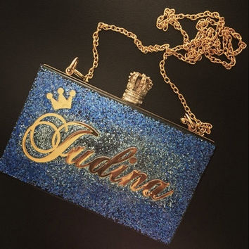 Personalized Nameplate Clutch, Customized Clutch, glittery clutch, customized acrylic clutch, acrylic bag