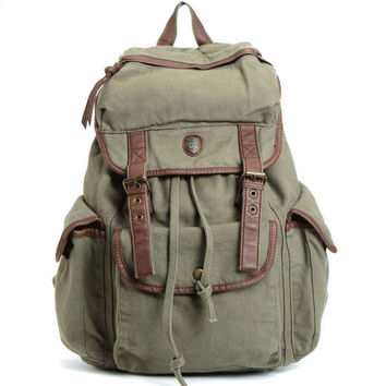 Retro Satchel Solid Drawstring Double Hasp Large Canvas School Bag Camping Backpack