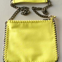 Neon Yellow Shoulder Handbag