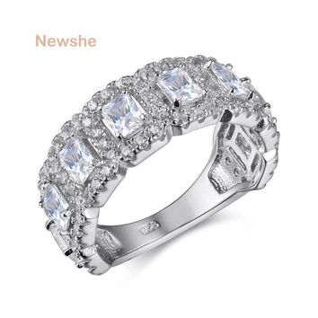 925 Sterling Silver Wedding Ring Engagement Band AAA CZ Eternity Jewelry For Women
