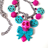 Pink skull necklace with blue bow and roses, jack o lantern necklace, Halloween necklace, Halloween jewelry, gothic lolita, harajuku girl