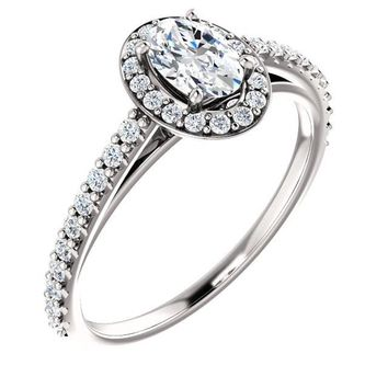 0.50 Ct Oval Diamond Engagement Ring 14k White Gold