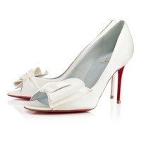 JUST SOON CREPE SATIN,OFF WHITE,Crepe satin,Louboutin,Women Shoes