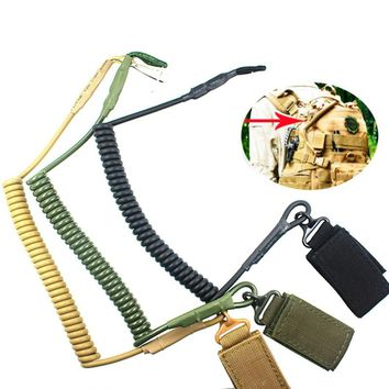 Hot Sell Multi-functional Tactical Lanyard Military Fans Spring Elastic Rope Security Gear Tool Airsoft Outdoor Hiking