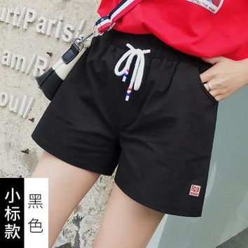 Hot Shorts 2018 Summer Women's Casual Cotton  Elastic Waist With Drawstring Pocket  Candy Colors AT_43_3