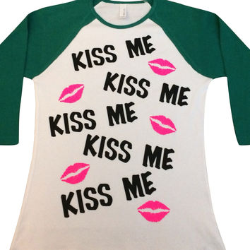 SALE - Kiss Me - Saint Patricks Day - Baseball  Tee - Raglan T-shirt - Ruffles with Love