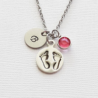 Footprints Necklace Baby Footprint Feet Newborn Gift Child Jewelry Swarovski Birthstone Silver Initial Personalized Monogram Hand Stamped