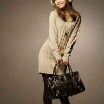 New Long Sweaters Autumn Winter Women Fashion Pullovers Jumper Fall 3 Solid Colors V-Neck Basic Knitted Sweater Dress HO658742