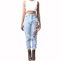 Vintage Casual Loose Ripped Version Holes Harlan Bleached Cotton Jeans