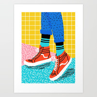 Toe Drag - memphis throwback fashion shoes retro pattern grid pink bright neon hipster Art Print by wacka