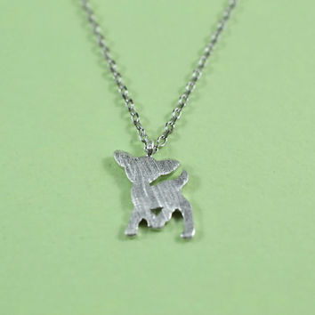 Adorable Deer Necklace, Rhodium Plated Brass Pendant, Delicate Chain, Everyday Wear, Perfect Gift