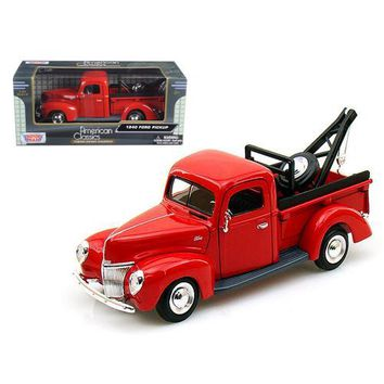 1940 Ford Pickup Tow Truck Red 1/24 Diecast Car Model by Motormax