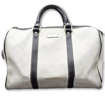 Gucci Exclusive Limited Edition Joy White & Black Supreme Canvas Boston Bag