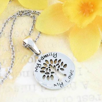 My Family, My Love - Tiny Tree of Life Necklace in Sterling Silver