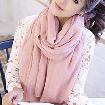 2018 Women Autumn Winter Scarf Pashmina Luxury Warm Solid Linen And Cotton Fashion Female Multi-purpose Autumn Winter Shawl