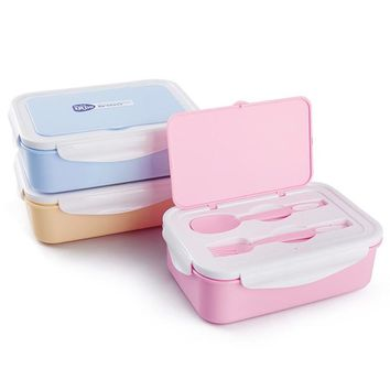 1PC 3Compartments Separated Lunch Box Microwave Food Grade Pp Lunch Box With Fork Spoon Box Eco-friendly 3Colors
