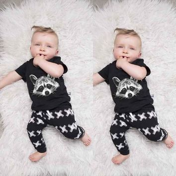 Raccoon printed baby boys clothes short sleeve summer bebe clothes fashion clothing set