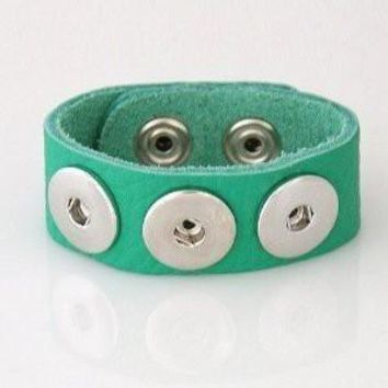 Leather Snap Charn Bracelet Green Textured Grain Soft Small Size 22cm