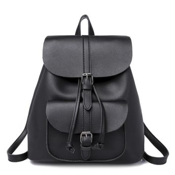 School Backpack trendy Retro Women Leather Backpack Multi-Funtion Travel Bag For Teenager School Bags Young Girl Satchel Shoulder Bags Vintage Backpack AT_54_4