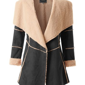 LE3NO Womens Oversized Open Front Faux Suede Shearling Coat Jacket with Belt