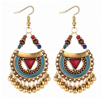 Red and Blue Enamel and Gold Boho Dangle Earrings