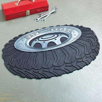 "Shop Mat Rubber Cushioned Garage Workshop 29.5"" x 18"" Dad's Garage Tire NEW"
