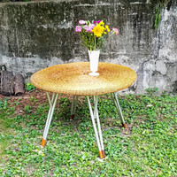 Vintage MCM Wicker 41 Inch Diameter Round Folding Dining Umbrella Table