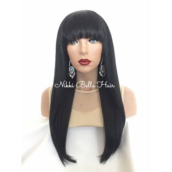 Incognito Bangs Human Hair Blend Full Wig 14 inches
