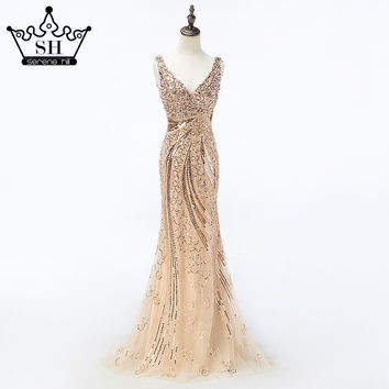 Luxury Gold hard working  Beading Sequined Mermaid Evening Dresses Long V-Neck  Abendkleider Lang 2017 Robe De Soiree