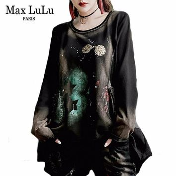 Max LuLu 2018 Luxury Korean Brand Girls Autumn Tops Tee Shirts Women Leopard T-shirt Harajuku Vintage Camiseta Woman Punk Tshirt