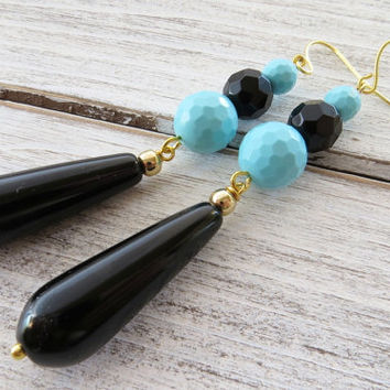Black drop earrings, turquoise earrings, long onyx earrings, dangle earrings, stone jewelry, contemporary jewelry, gioielli, italian jewelry