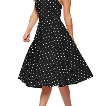 Black White Polka Dot Halter Flared Vintage Dress
