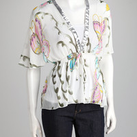 White Butterfly Angel-Sleeve Top